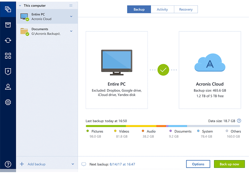 Acronis True Image 2018 screenshot
